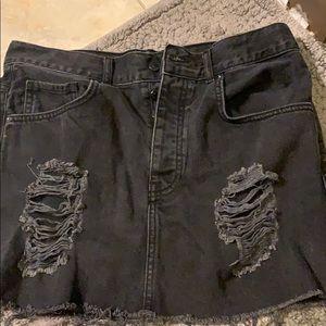 Black Distresses Denim Mini Skirt